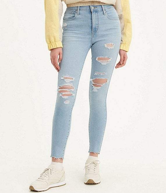 Color:Ontario Tower - Image 1 - Levi's® 720 High Rise Distressed Extreme Stretch Skinny Jeans