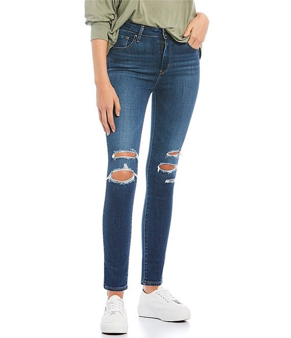 Color:Carbon Water Blue - Image 1 - 721 Destructed High Rise Ankle Skinny Jeans