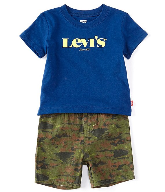 Color:Estate Blue - Image 1 - Levi's® Baby Boys 12-24 Months Short-Sleeve Script Logo Tee & Camo Twill Short Set