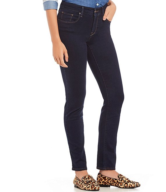 Color:Dark Deep Indigo Blue - Image 1 - Levi's® Classic Mid Rise Skinny Jeans