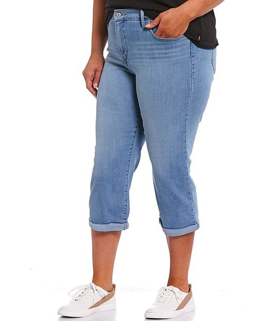 Color:Oahu Clouds Chills - Image 1 - Levi's® Plus Size Shaping Rolled Hem Capri Jeans