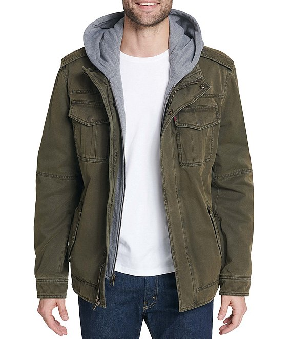 Color:Olive - Image 1 - Levi's® Twill Hooded Military Trucker Jacket