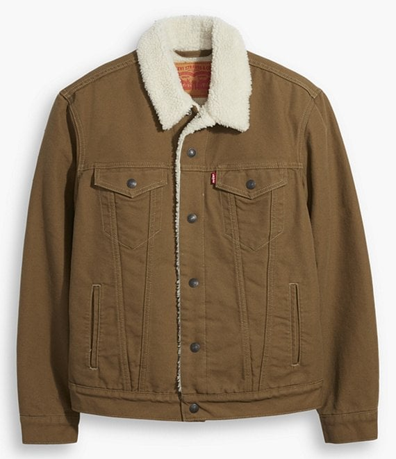 Color:Cougar - Image 1 - Levi's® Type III Sherpa Denim Trucker Jacket