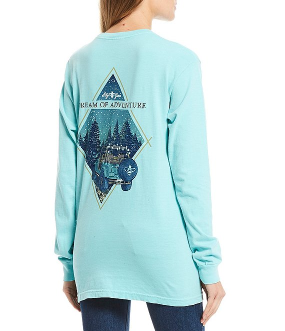 Color:Chalky Mint - Image 1 - Dream of Adventure Long Sleeves Graphic Pocket Tee