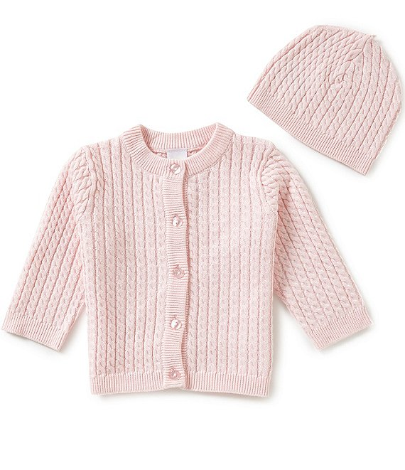 Color:Blushing Bride Pink - Image 1 - Baby 3-12 Months Huggable Cable-Knit Sweater and Hat Set