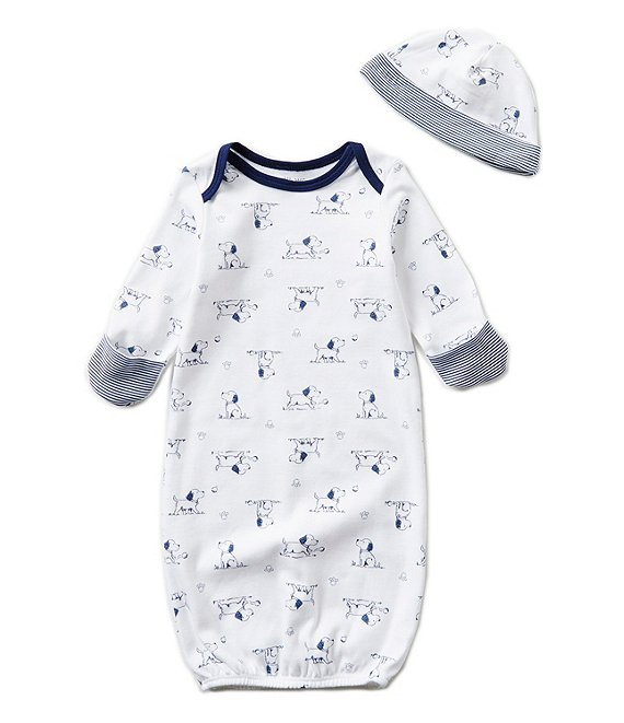Little Me Baby Boys Newborn Puppy Toile Printed Gown