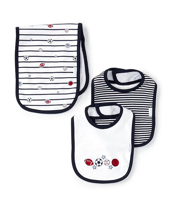 Little Me Baby Boys Sports Bib, Striped Bib & Striped/Sports Theme Burp Cloth Set