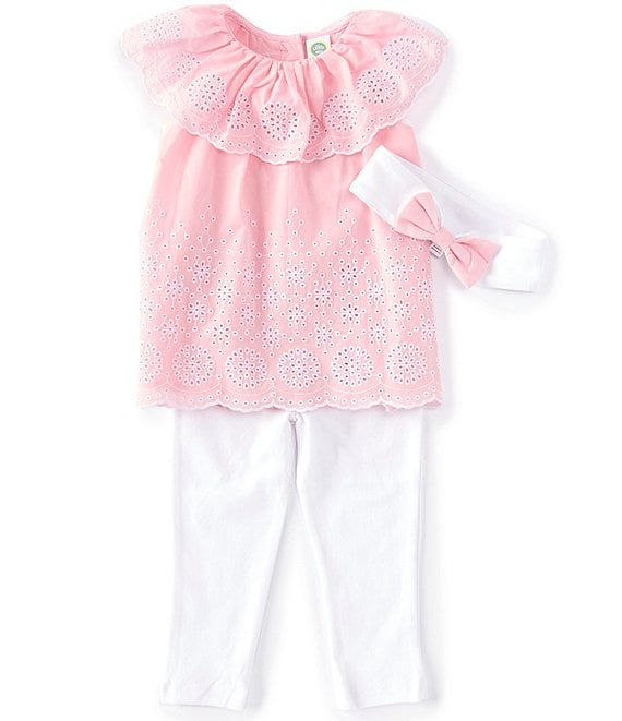 Color:Orchid Pink - Image 1 - Baby Girl 12-24 Months Ruffled Eyelet Babydoll Top & Leggings Set
