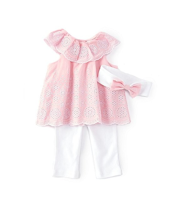 Color:Orchid Pink/White - Image 1 - Baby Girl Newborn-12 Months Ruffled Eyelet Babydoll Top & Leggings Set