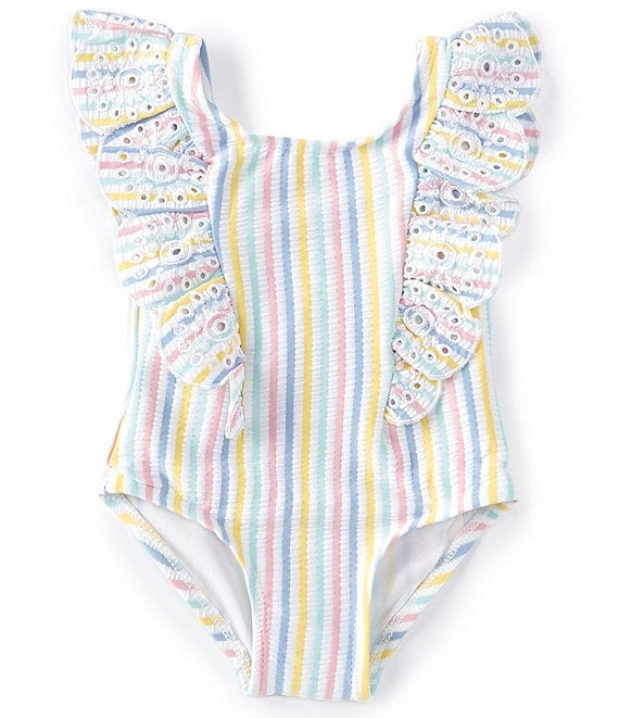 Color:Multi Stripe - Image 1 - Baby Girls 6-24 Months Lemon-Slice Striped One-Piece Swimsuit