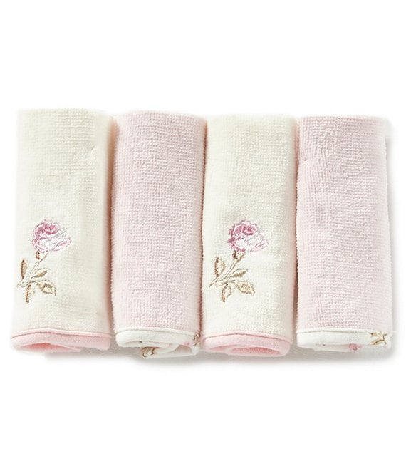 Little Me Baby Girls Vintage Rose 4-Pack Washcloth Set