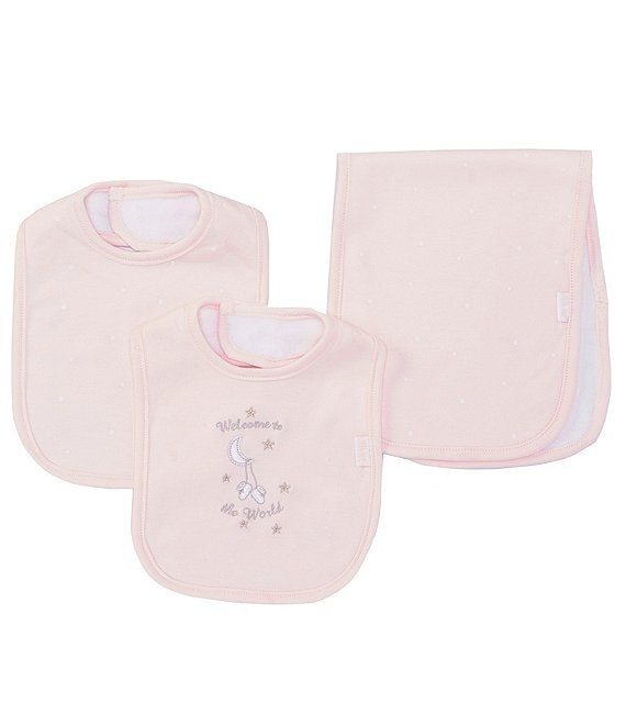 Little Me Baby Girls Welcome Printed/Solid Bibs & Burpcloth Set