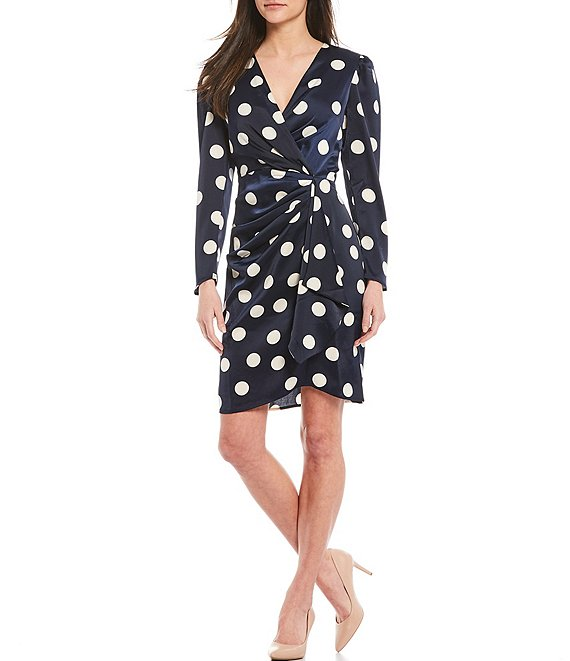 Color:Navy/Ivory - Image 1 - Long Sleeve Dotted Side Ruched Sheath Dress