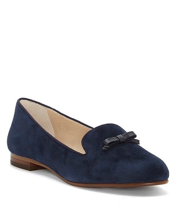 Color:Blue Moon - Image 1 - Anniston Suede Bow Detail Flats