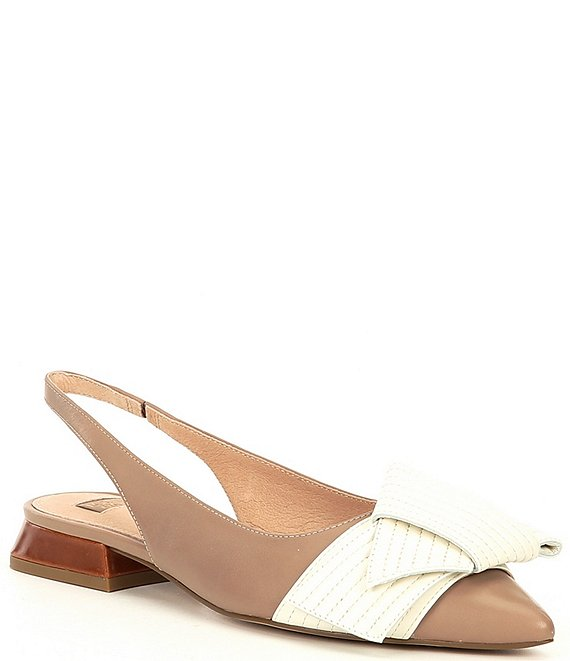 Color:Barely/Bone - Image 1 - Cerelia Leather Quilted Bow Flare Heel Detail Slingback Flats