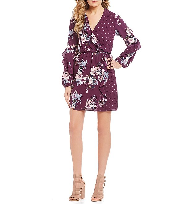 Love & Piece Mixed-Print Long Sleeve Wrap Dress