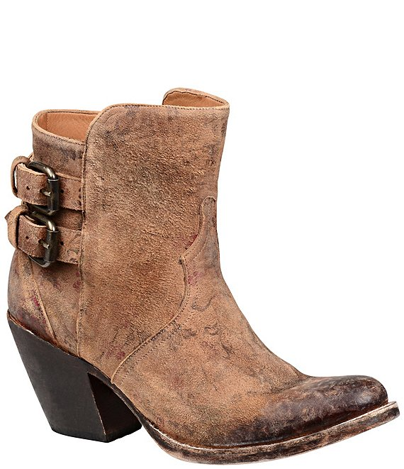 Color:Brown Floral - Image 1 - Catalina Floral Print Leather Western Booties