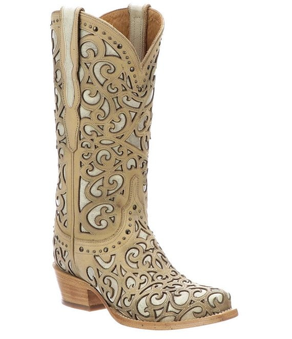 Color:Bone - Image 1 - Sierra Curly L Leather Studded Western Boots