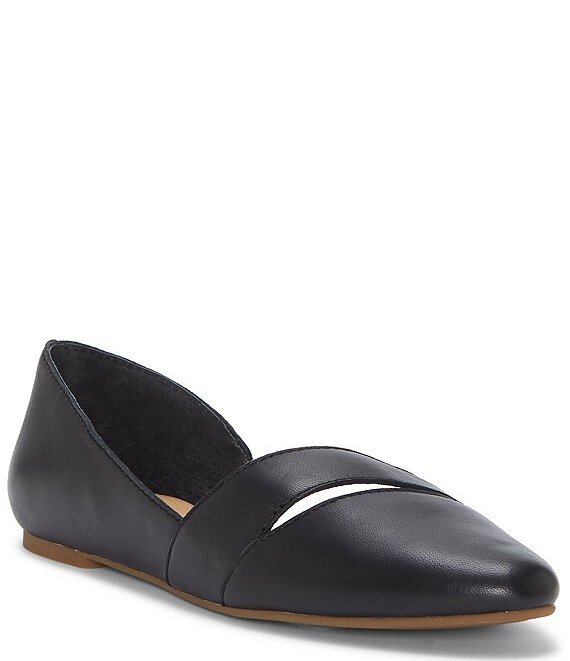 Color:Black - Image 1 - Ashena Leather Cut Out d'Orsay Flats