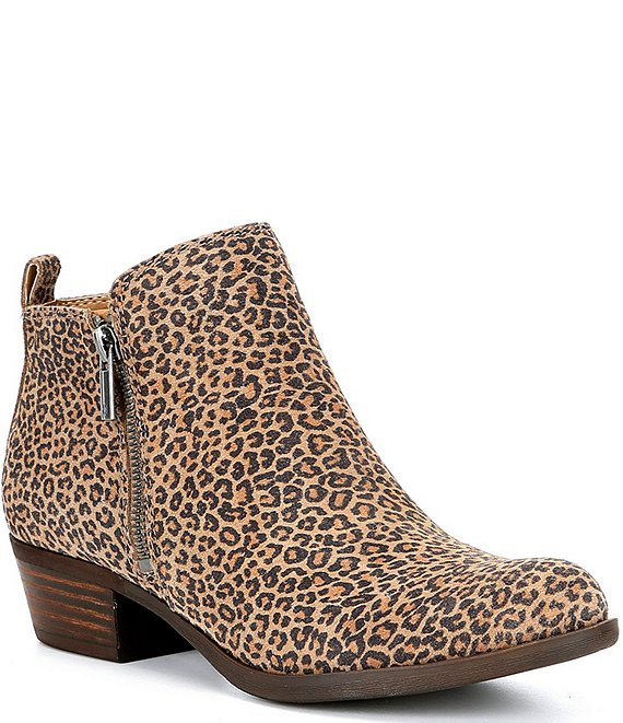 Color:Eyelash Leopard - Image 1 - Basel Eyelash Leopard Print Suede Side Zip Block Heel Booties
