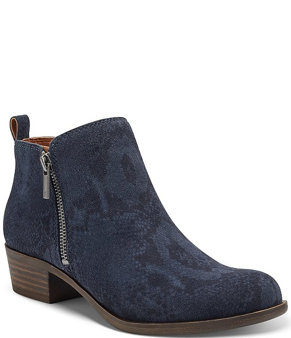 Color:Dark Denim - Image 1 - Basel Printed Suede Side Zip Block Heel Ankle Booties