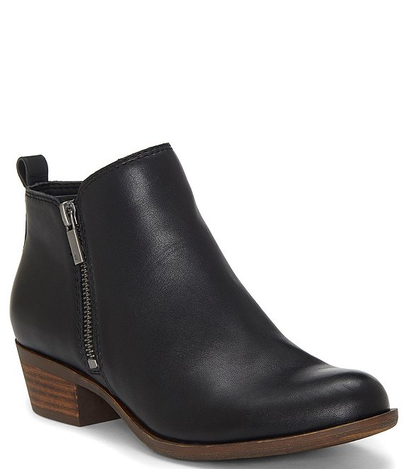 6232a9eb573 Lucky Brand Basel Smooth Leather Zip Block Heel Booties