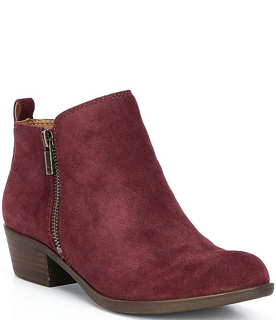 Color:Sugar Red - Image 1 - Basel Suede Block Heel Booties