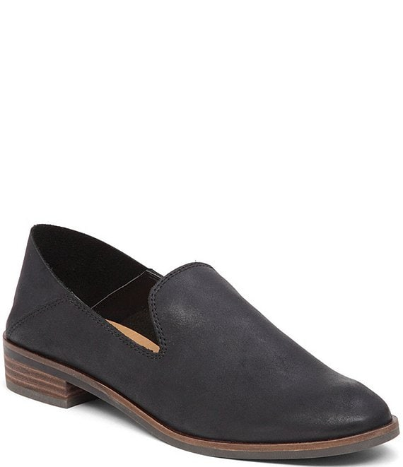 Color:Black - Image 1 - Cahill Leather Block Heel Dress Flats