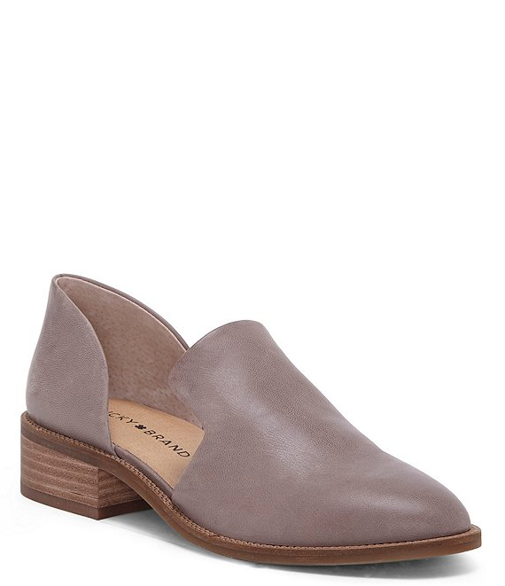 Color:Titanium - Image 1 - Gennifa Leather Open Side Stacked Heel Loafers