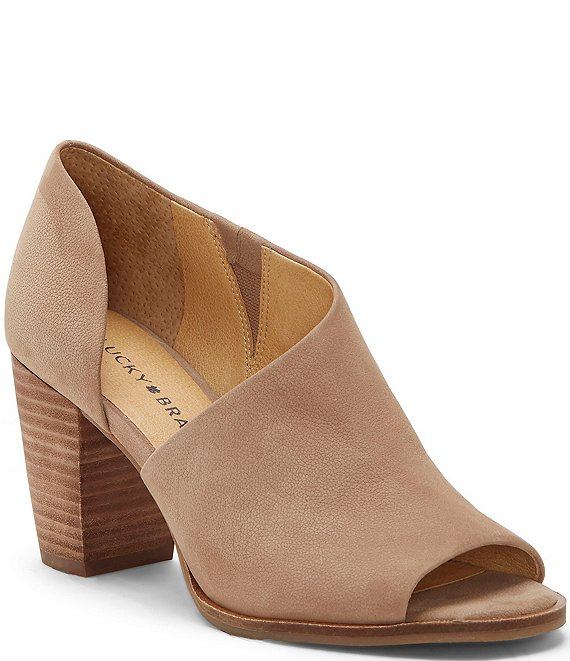 Color:Dove - Image 1 - Jexa Suede Stacked Block Heel d'Orsay Shooties