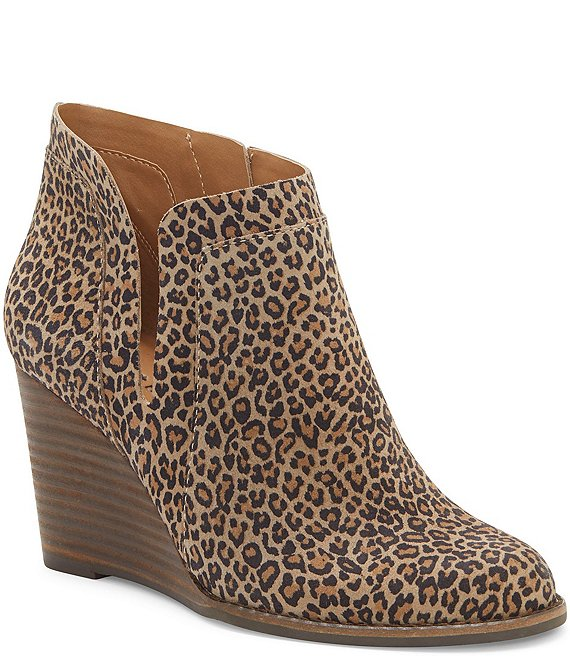 Lucky Brand Yabba Leopard Print Ankle Wedge Booties