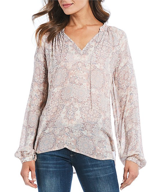 Lucky Brand Long Sleeve Printed Hi-Low Peasant Top