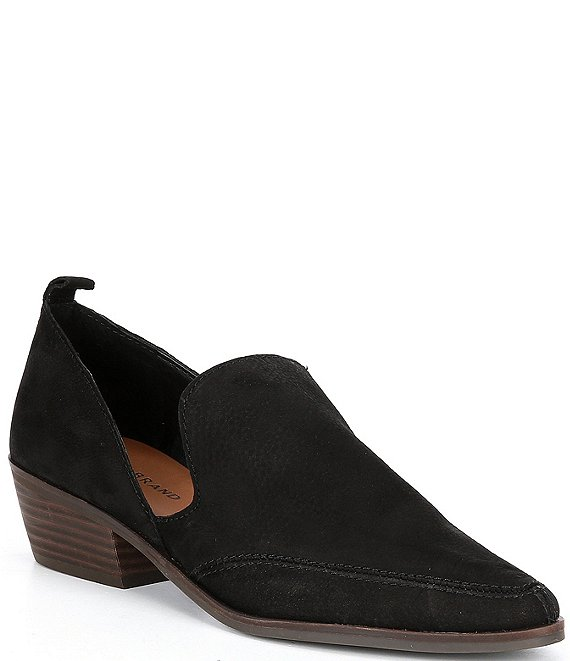 Color:Black - Image 1 - Mahzan Leather Block Heel Loafers
