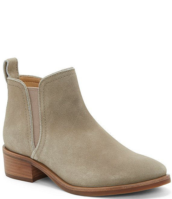 Color:Lt. Fossilized - Image 1 - Pogan Suede Block Heel Chelsea Booties