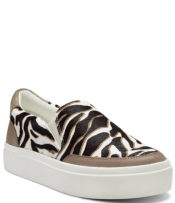 Color:Lace/Latte - Image 1 - Takato Printed Zebra Haircalf Slip On Sneakers