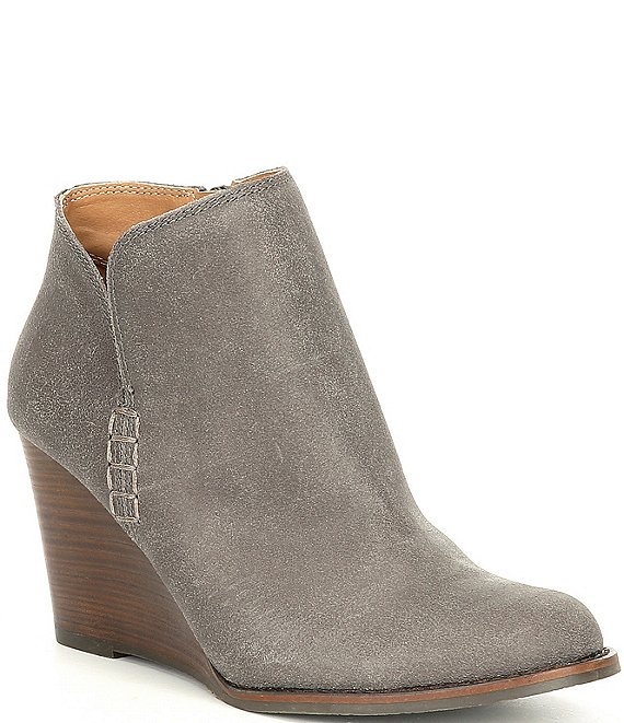 Color:Storm - Image 1 - Yimmie Oiled Suede Ankle Wedge Booties