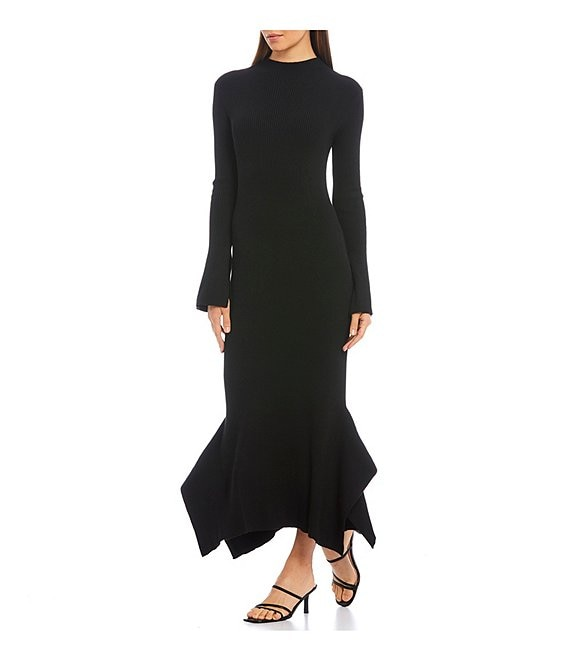 Lucy Paris Mana Stretch Knit Long Sleeve With Flare Cuff Asymmetrical Hem Midi Dress
