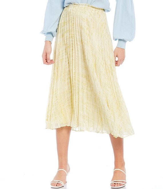 Color:Yellow - Image 1 - Skyler Pleated Midi Skirt