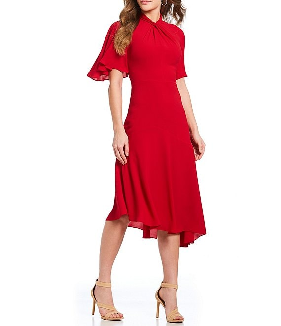 Color:Cranberry - Image 1 - Asymmetrical Crepe Midi Stretch Dress