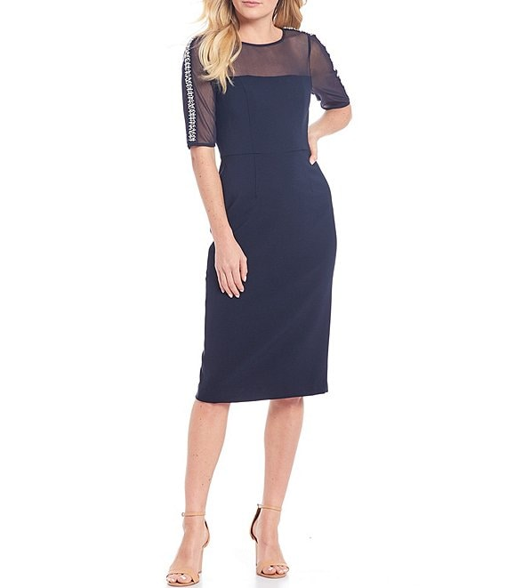 Color:Dark Navy - Image 1 - Illusion Neck Embellished Detail Sheath Midi Dress