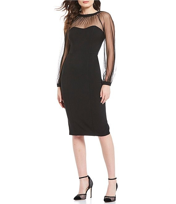 Color:Black - Image 1 - Illusion Sleeve Crepe Midi Sheath Dress