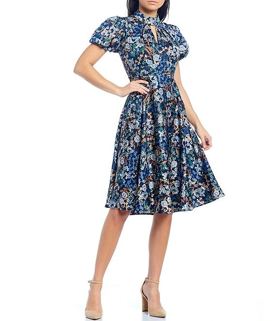 Color:Navy/Twilight - Image 1 - Keyhole Neck Short Puff Sleeve Floral Printed Crepe De Chine Dress