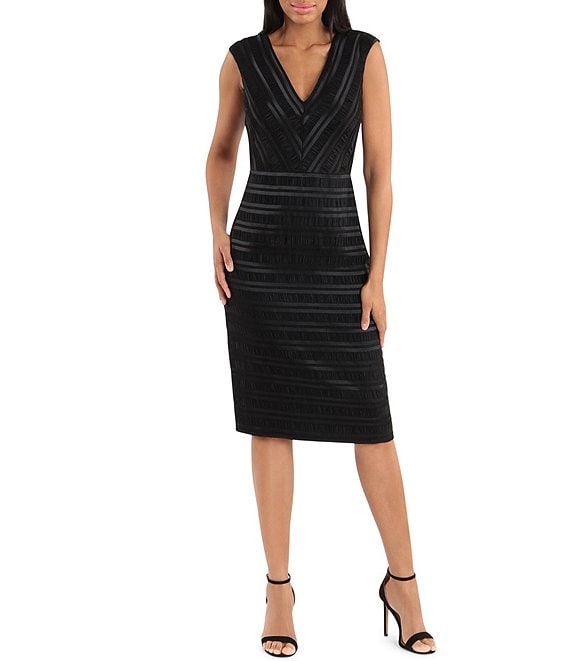 Color:Black - Image 1 - Stretch Satin Shadow Stripe V-Neck Sleeveless Sheath Midi Dress