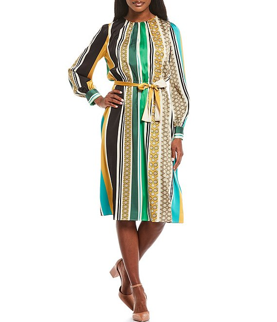 Color:Soft Creme/Gold Multi - Image 1 - Stripe Charmeuse Blouson Midi Dress