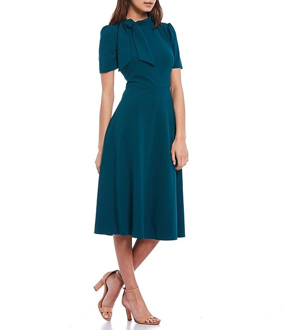 Color:Neo Emerald - Image 1 - Tie Neck Short Sleeve Midi Crepe A-Line Dress