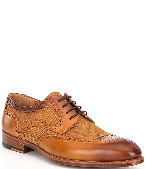 Color:Cuero - Image 1 - Men's Asturia Leather and Linen Wingtip Oxfords