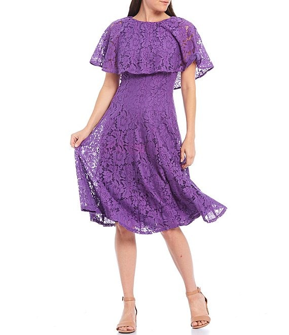 Color:Pansy - Image 1 - Lace Caplet Midi Dress