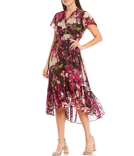 Color:Magenta/Purple/Black - Image 1 - V-Neck Flutter Sleeve Floral Clip Dot Chiffon Midi Dress