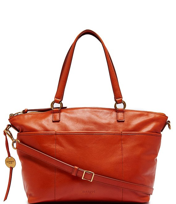 Color:Burnt Orange - Image 1 - Antique Leather Top Zip Satchel Bag