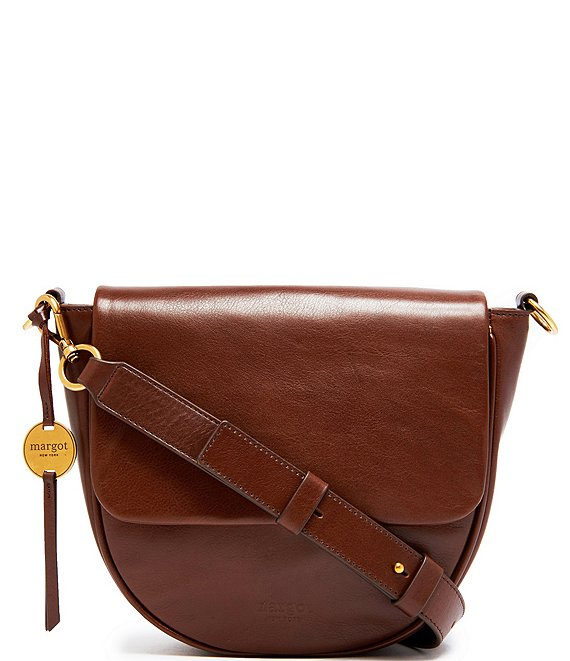 Color:Chocolate - Image 1 - Macie Leather Large Flap Crossbody Bag